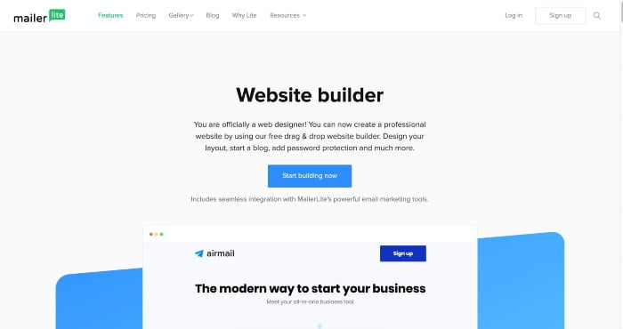 MailerLite Website Builder Review